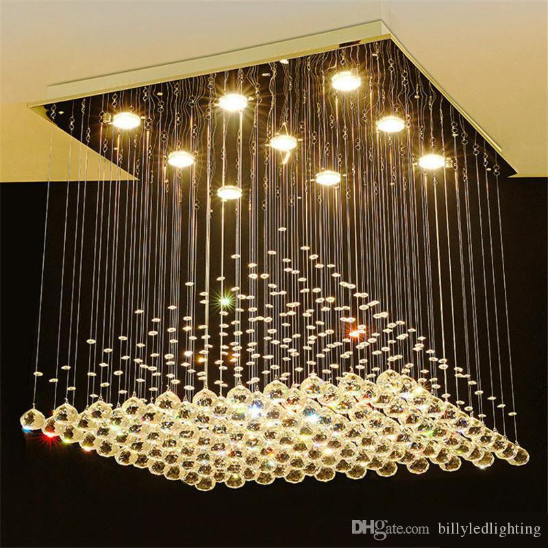 Praça candelabro de cristal de iluminação LED de cristal do teto luminárias Sala Sala de Jantar da gota da chuva lâmpadas de cristal