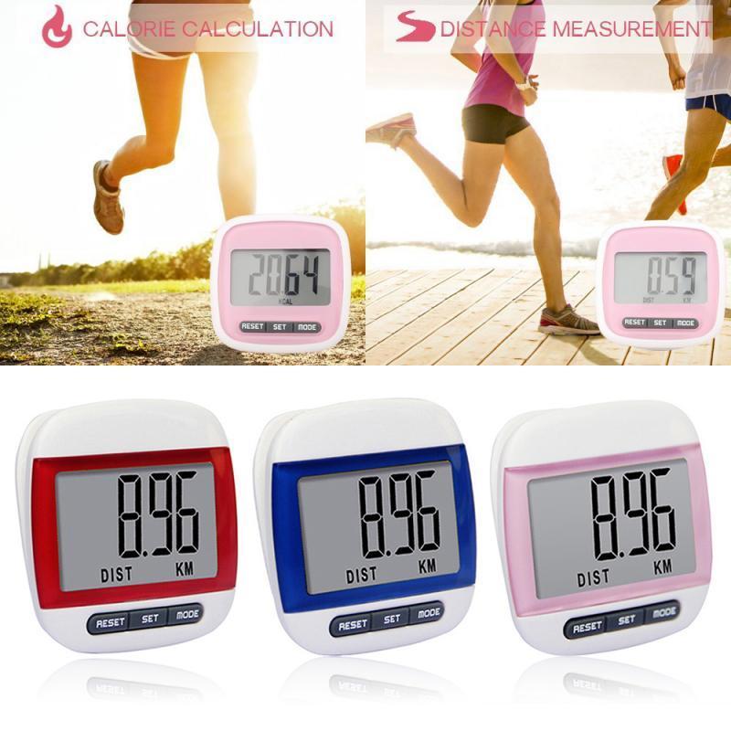 مقياس الخطو LCD البسيطة مولتيفوكشونال الرقمية تشغيل الخطوة مسافة قريبة عداد الصحة مونيتور الرياضة السعرات الحرارية حركة الخطوة عداد