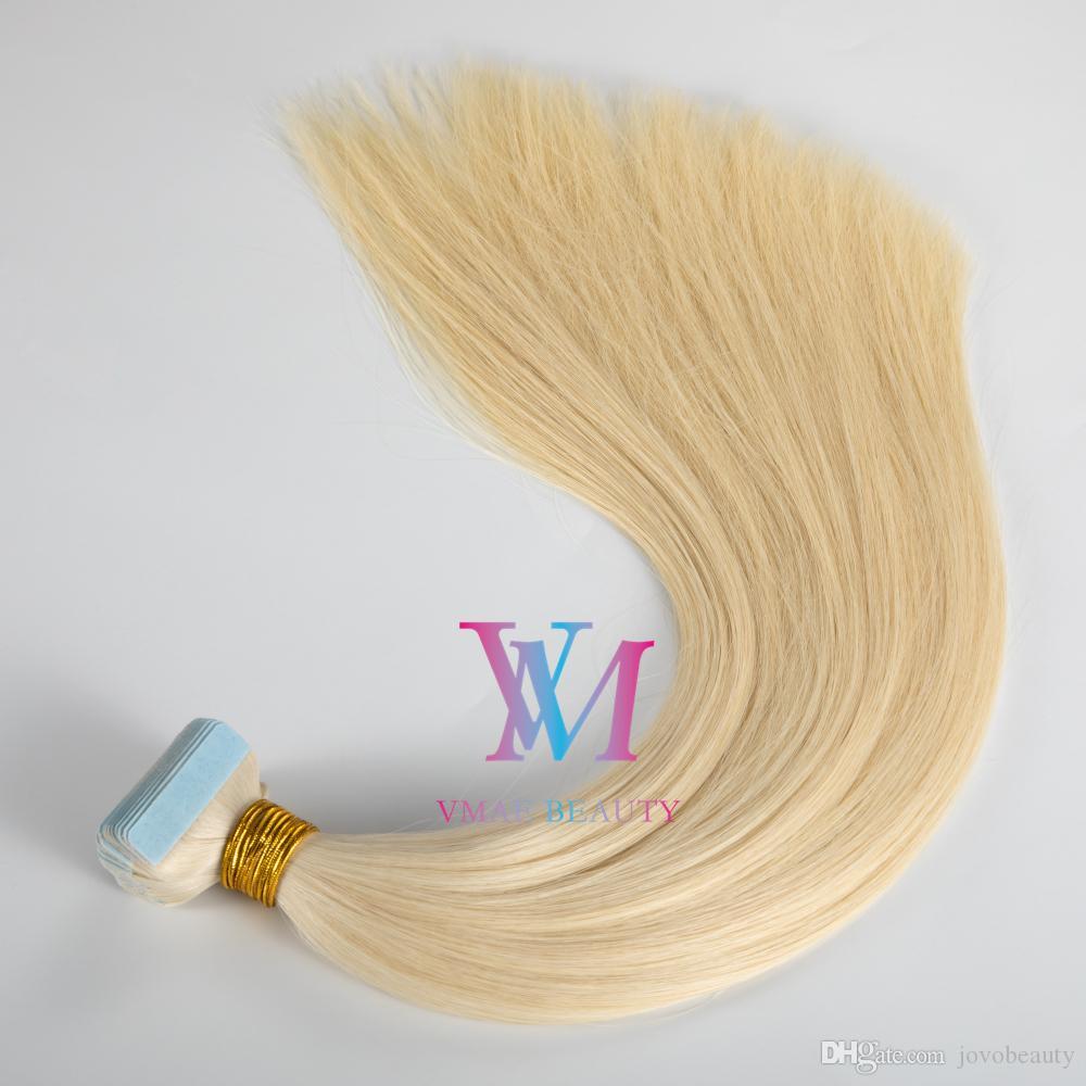 Европейский 14-26 дюймов Двойная нарисованная лента в 100 г Натуральный цвет Multi Colors Virgin Remy Extensions Extensions Silky Hai