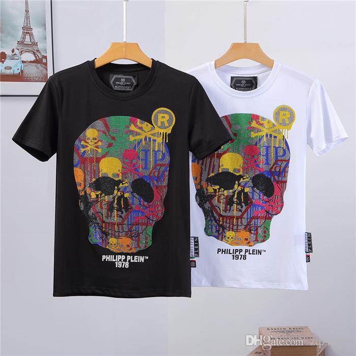BBG Yeni Erkek Marka boyun Pamuk T-Shirt Kısa Kollu Baskı payetler Tshirt Tasarımcı Tees Erkekler Moda Hayalet kafa Kristal Tees Hip hop Tops