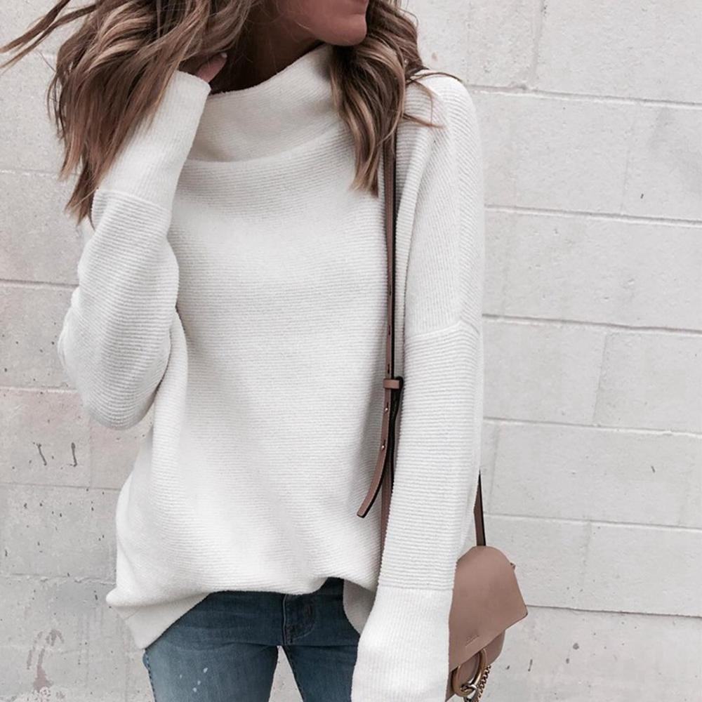 Autumn and winter women/'s knitted pullover casual soft long-sleeved sweater