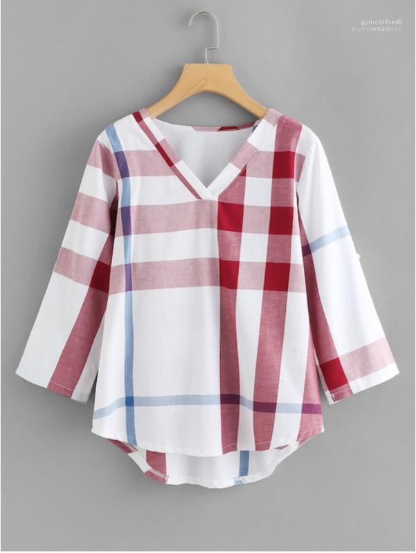 Plaid Print Female Tshirts 4XL Women V Neck Summer Designer Tees Fashion Long Sleeve Casual Clothing