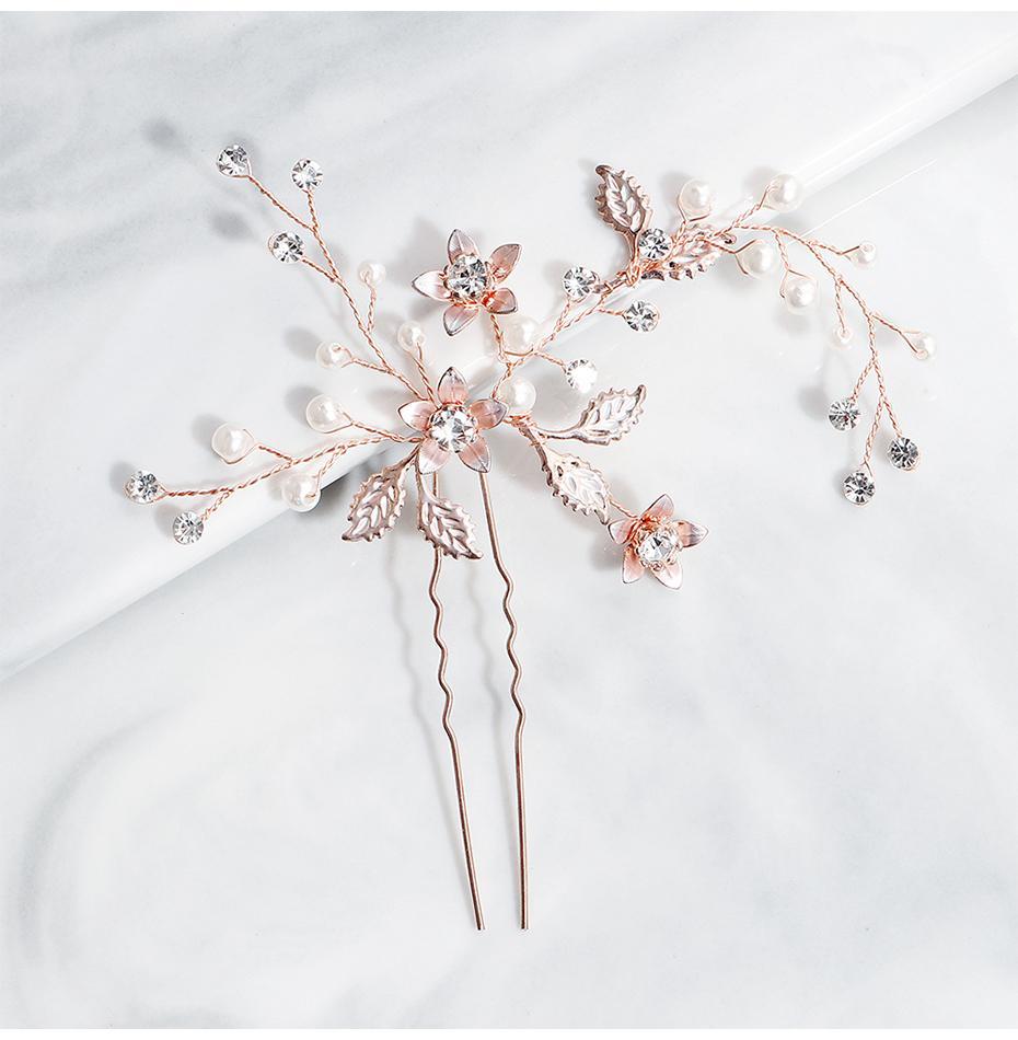 2019 Gül Altın El Yapımı Düğün Saç Klipler Gelin Saç Pins Kafa Takı Aksesuarları Kadınlar için Headpieces JCF060