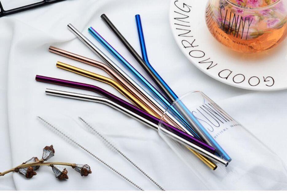 304 соломинки из нержавеющей стали многоразовые прямые изогнутые металлические соломинки для питья многоразовые соломинки для кухни кухонный бар солома
