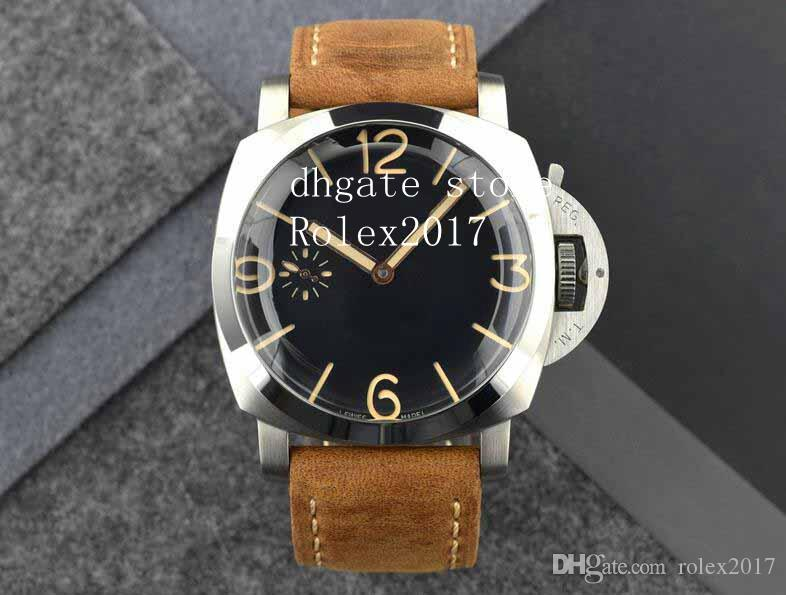 Men's Limited 2021 47mm Sandwich Black Dial Brown Leather Movement Power savings Counterclockwise Manual winding Diving Fashion Watches
