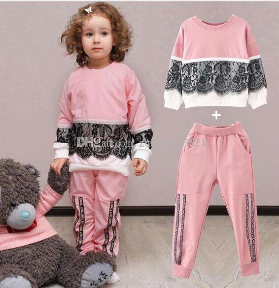 Mädchen Kleidung Sets New Autumn Active Mädchen Kleidung L Kinder Kleidung Cartoon Print Sweatshirts + Pants Suit