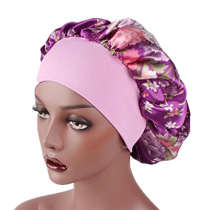 Цветочные принты полуночников Wide Side Satin Care Спящий Cap Beanie Hat с мягкой Резинка для волос Аксессуары 10шт
