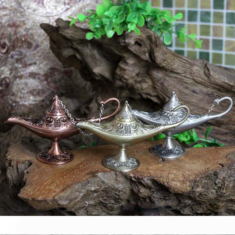 A ممتاز خرافة علاء الدين المصباح السحري مبخرة خمر وعاء الشاي الجني مصباح رائحة ستون الرئيسية زخرفة الحرف المعدنية