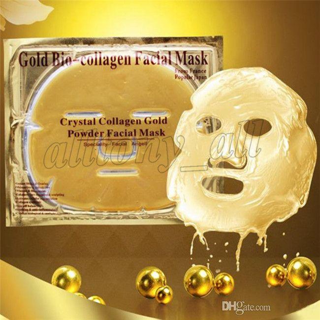 Cheaper wholesale Gold Bio-Collagen Facial Mask Face Mask Crystal Gold Powder Collagen Facial Mask Moisturizing Anti-aging 24k Gold Masks
