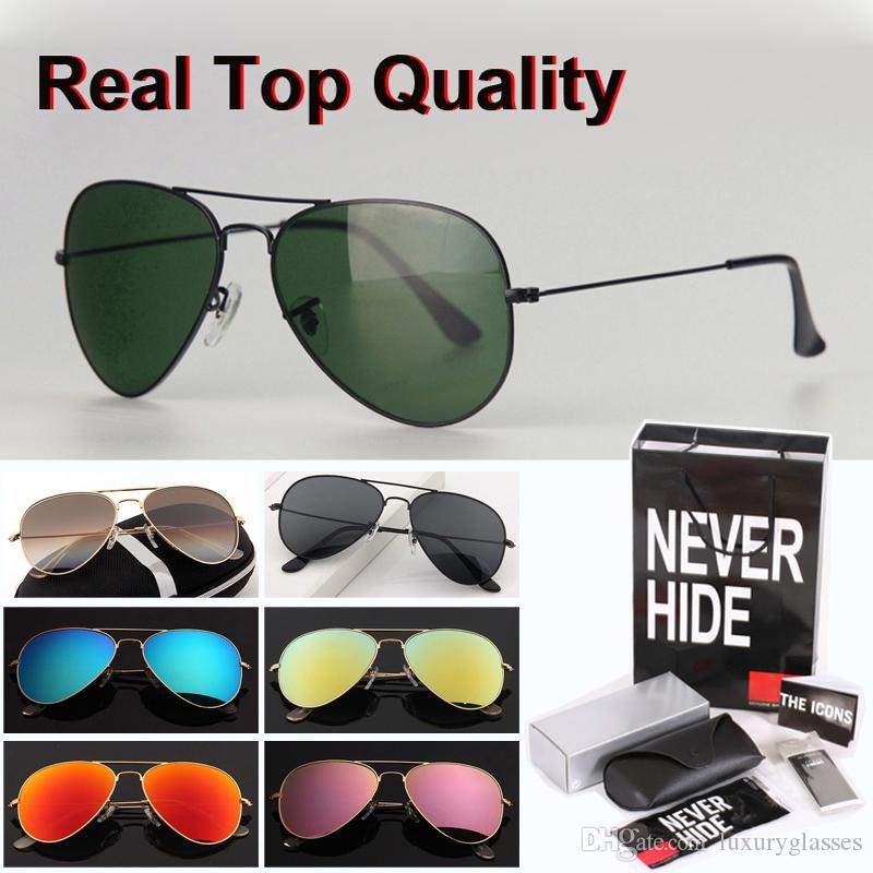 De calidad superior (lente de cristal) 58/62 marca con gafas de sol de los hombres de las mujeres piloto gafas de sol con la caja original, paquetes, accesorios, todo!