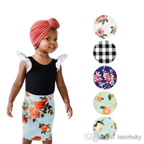 Bebek Kız Giyim Çocuk Çiçek Baskılı Etek Kız Çiçek Izgara Kalem Etekler Çocuk Kız Giyim Bir Çizgi Etekler Parti Tasarımcı Giyim TLYP500