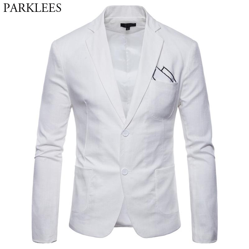 2019 White Cotton Linen Lightweight Suit Jacket Men 2019 New Slim Fit Casual Blazer Jackets Mens Party Wedding Groom Blazer Hombre From Yonnie 4345