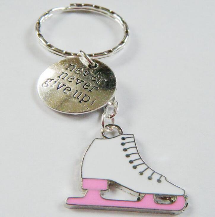 20pcs Never Never Give Up Lce Skater Skate Keychain Vintage Silver Figure Skating Key Chains Ring Key Car Bag Key Ring Handbag Gift Souvenir
