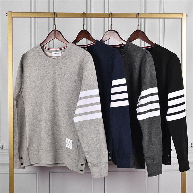 Herbst winter reiner Baumwolle Loopback Jersey Knit Engineered arm Streifen thom Sweatshirt Crewneck Pullover Braun Männer Frauen Pullover