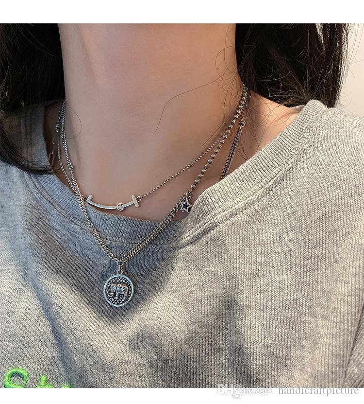 jóias de luxo colares mulheres Silver Star designer com pingente colares sorriso elefante hip hop para a menina velha Chians moda gargantilha