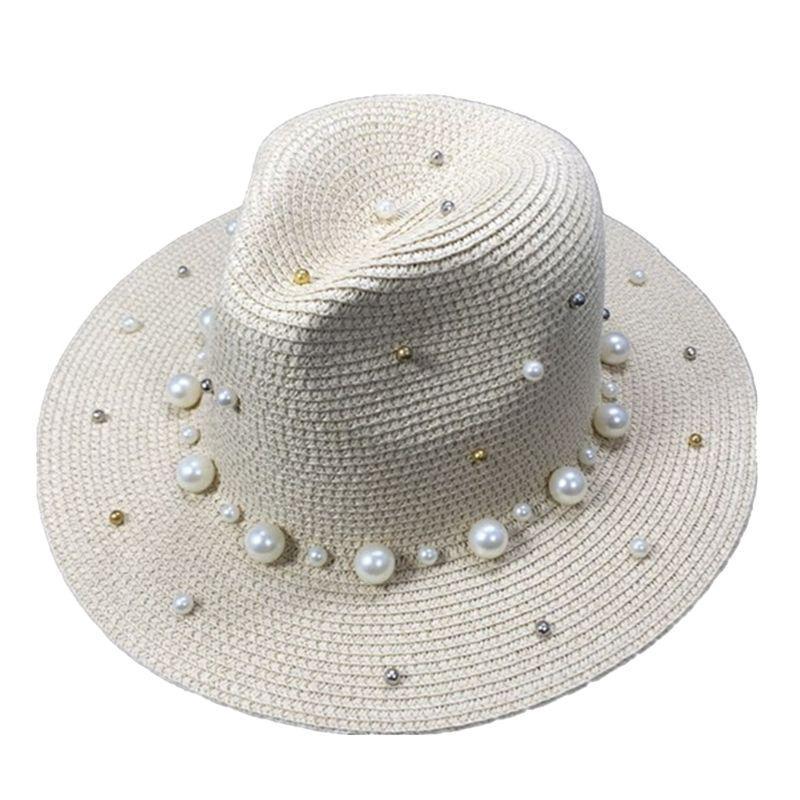 Лето британский жемчуг бисероплетение плоские поля соломенная шляпа затенение шляпа солнца Леди пляж широкие поля 72XF