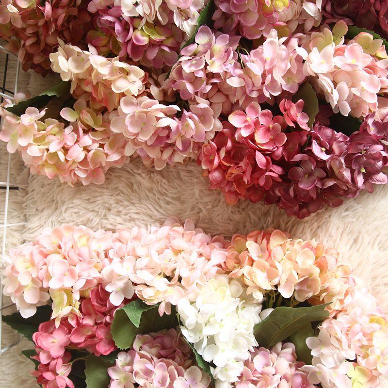 Artificielle Hortensia Fleurs Tête 47 cm Faux Soie Fleurs DIY Seul Mariage Hortensias Bouquet Faux Simulation Fleurs pour La Maison Décor de Table