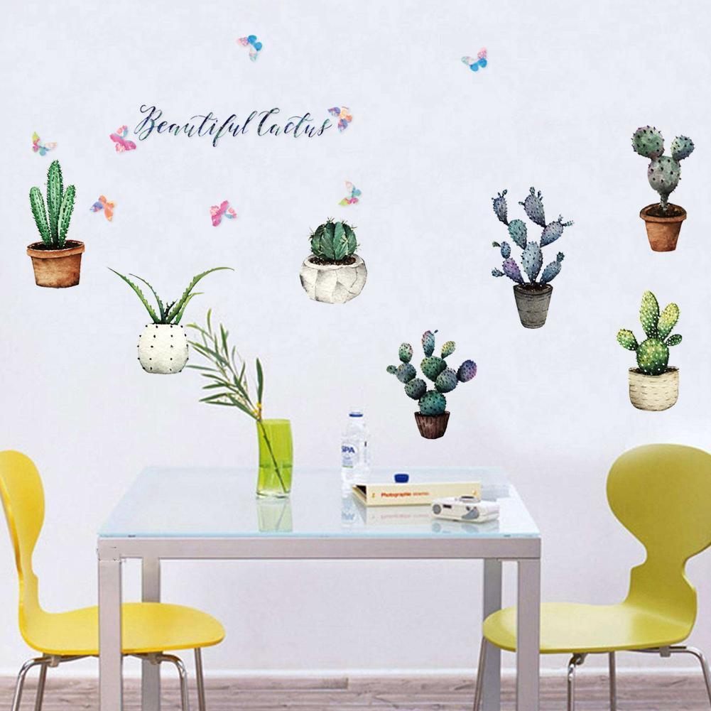 Stickers Pour Fenetre Chambre acheter creative pot plante cactus stickers muraux vinyle diy art mural  pour salon chambre cuisine verre fenêtre décoration autocollant de 4,97 €  du