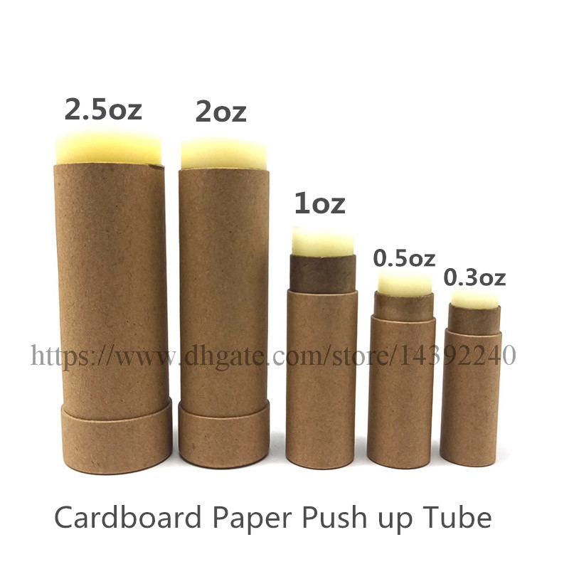50 adet 1oz 2 ons 2.5oz çevre dostu kağıt deodorant kabı borular Krafts karton ruj kutularından karton deodorant boru itme sopa