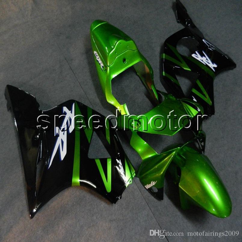 Gift + Viti cappucci moto nero verde per HONDA 2002 2003 CBR954RR 02 03 Carena carena in ABS