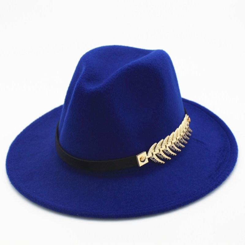 2020 Feuille de feutre Chapeaux d'homme avec ceinture Femmes Vintage Caps laine chaude Femme Feutrée