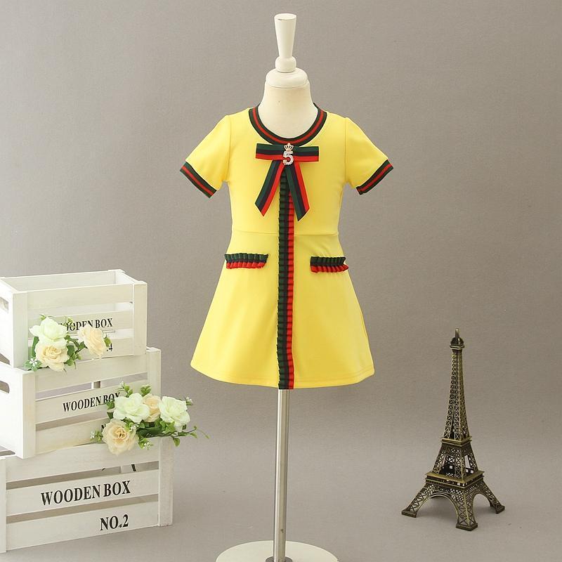 Bowtie Girl's Dresses Baby Girl Dress Kids Short Sleeve Dresses 2020 Designer Infant Princess Party Dress Children Boutique Clothing S750