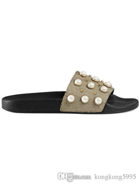 new arrival mens and womens 2019 fashion causal flat slide sandals with Pearl effect and gold toned studs