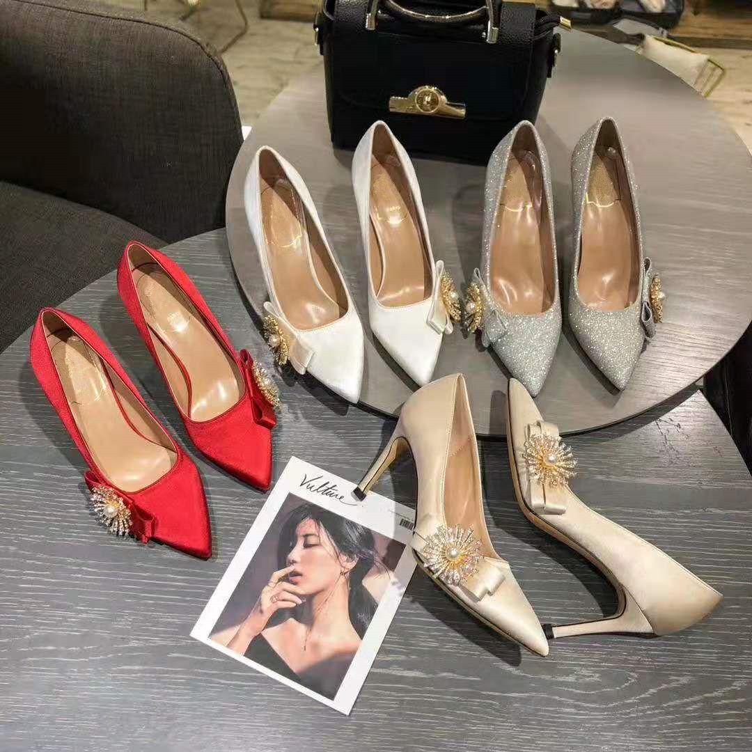 Les femmes concepteur pompe pompe de soie mariage talons hauts de mariée avec boucle Feu d'artifice des femmes de dames chaussures habillées luxe taille EUR34-40