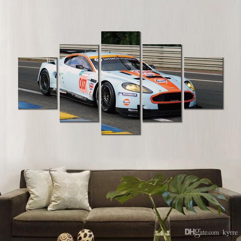 5 ensembles affiche moderne aston martin dbr voitures blanches impression sur toile impressions murales sans cadre pour décor