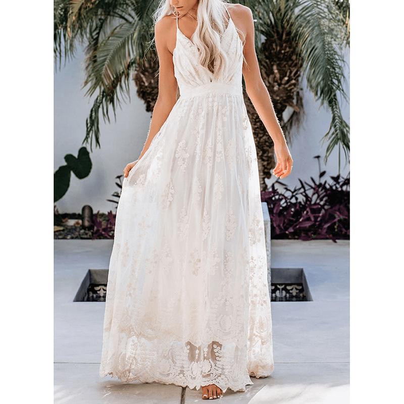 2020 Summer Women Long Dress Spaghetti Strap White Lace Sexy Maxi Tunic Beach Dress