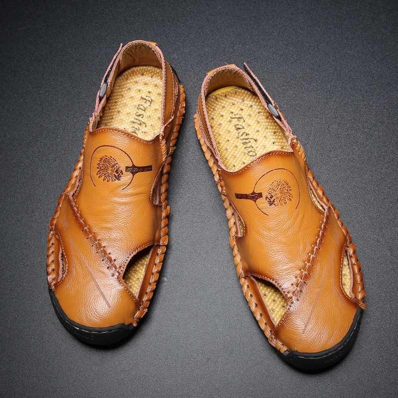 sandales de haute qualité hommes luxe sandalia caoutchouc masculina 39 de cuir slip en cuir véritable décontracté respirant léger creux