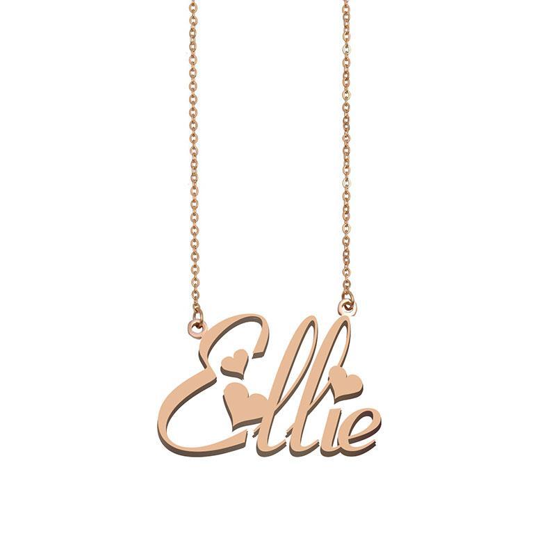 Ellie Namenshalsketten-Anhänger für Frauen-Mädchen-Geburtstags-Geschenk Individuellen Typschild Kinder Best Friends Schmucksachen 18k Gold überzogener Edelstahl