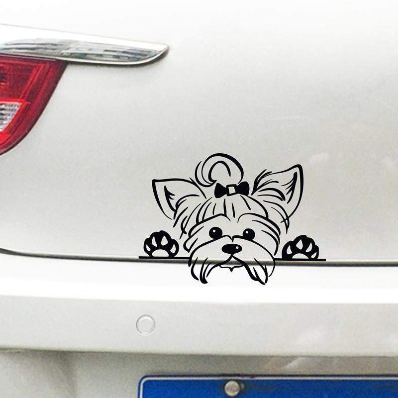 Etiqueta terrier Yorkshire vinilo etiquetas del coche de la decoración de Yorkshire Terrier de vinilo de la etiqueta engomada de la decoración del coche, Puppy Echar un vistazo perro Yorkie de la raza del animal doméstico de la etiqueta