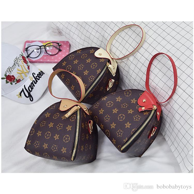 Crianças de Luxo Bolsas de impressão Designer de Mini Lanterna triângulo Bolsa Sacos de Ombro Adolescente crianças Meninas PU Mensageiro presente de Natal B40
