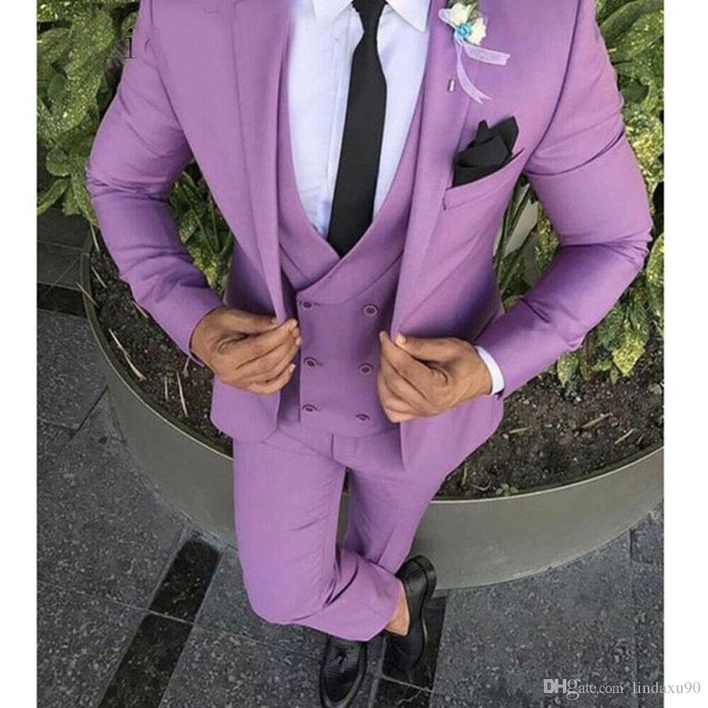 New Man Tuxedo Waistcoat Purple Vest only Formal Wedding Party Prom
