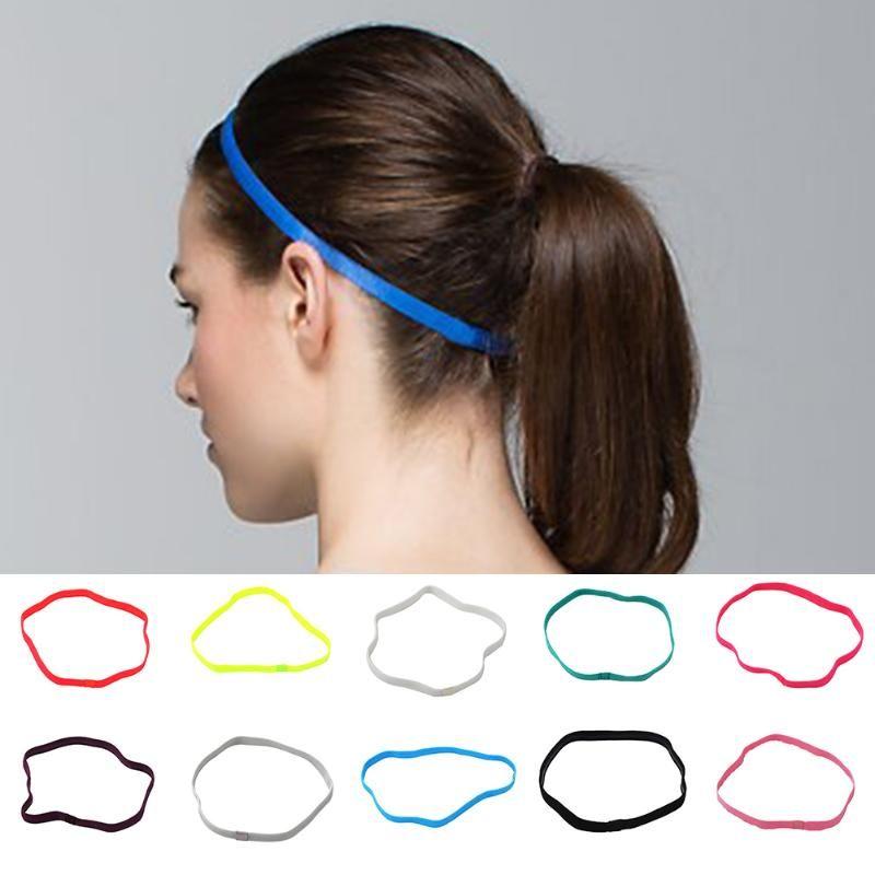 Gym Anti-Slip Thin Elastic Sports Headband Women Yoga Hair Bands Slim Fitness Sweatband For Men Multicolor High Quality
