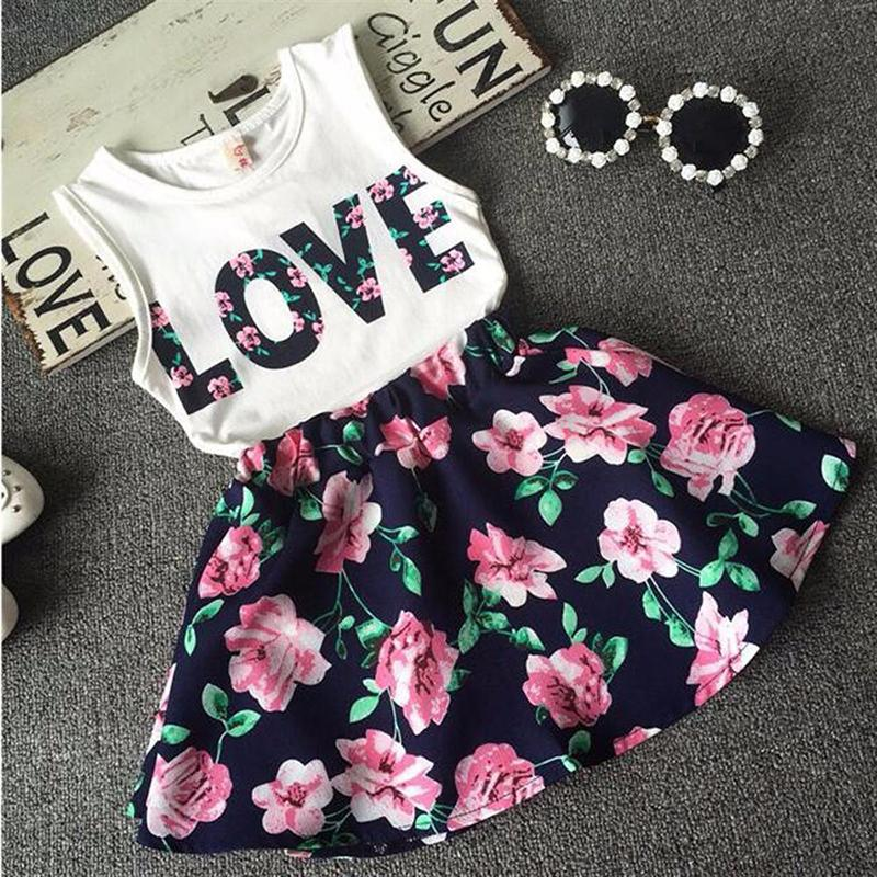 Flower Girls Clothes Casual Summer Toddler Children Clothing Set LOVE Letter Vests Skirst Kids Suits For 2 3 4 5 6 7 8 9 10 year CX200624