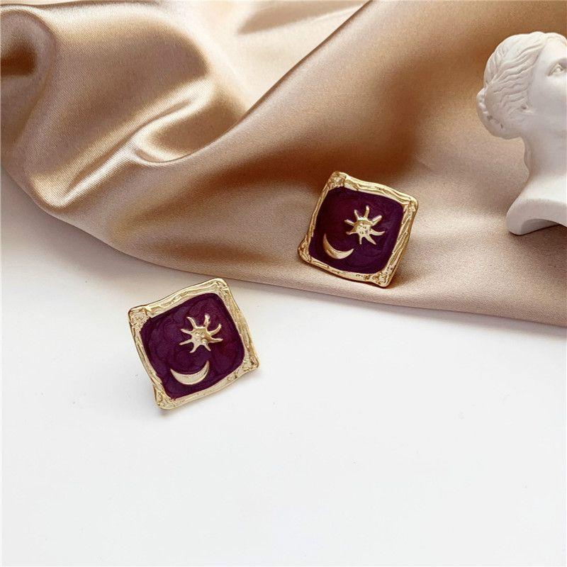 Silver Needle Sweet Star Moon Korea New Temperament Simple Retro Stud Earrings for Women Fashion Jewelry Accessories