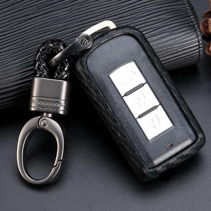 Para Mitsubishi Outlander Lancer 10 Pajero Sport ASX coches Accesorios de carbono Protección de fibra de llave inteligente cubre el caso Car Styling