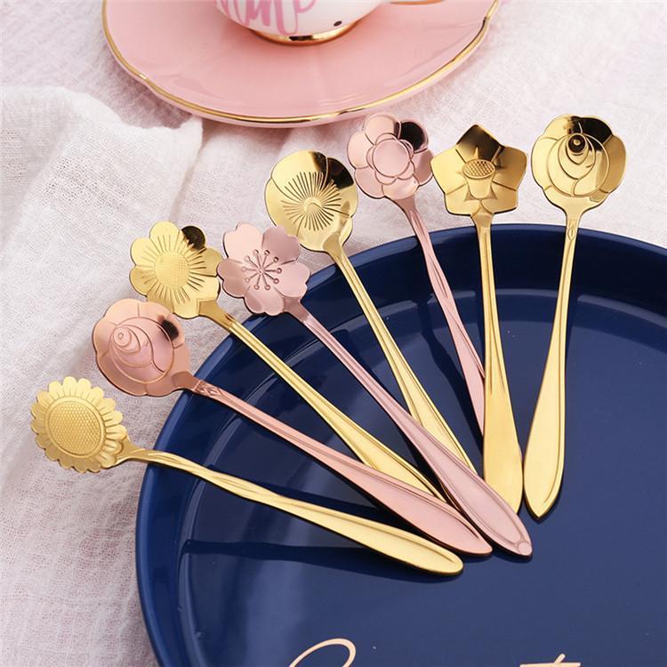 Çiçek Çay Kaşık Kahve Kaşık 8 Titanyum Altın Bakır Kaplama Paslanmaz Çelik Çiçek Kaşık Çatal Tasarımları