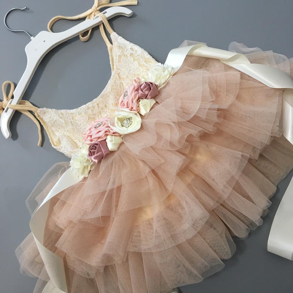 Fiori bel fiore ragazze Wedding Party Dress dei bambini tutu abito per i bambini I bambini Sashes principessa Sling Summer Dress Q190522