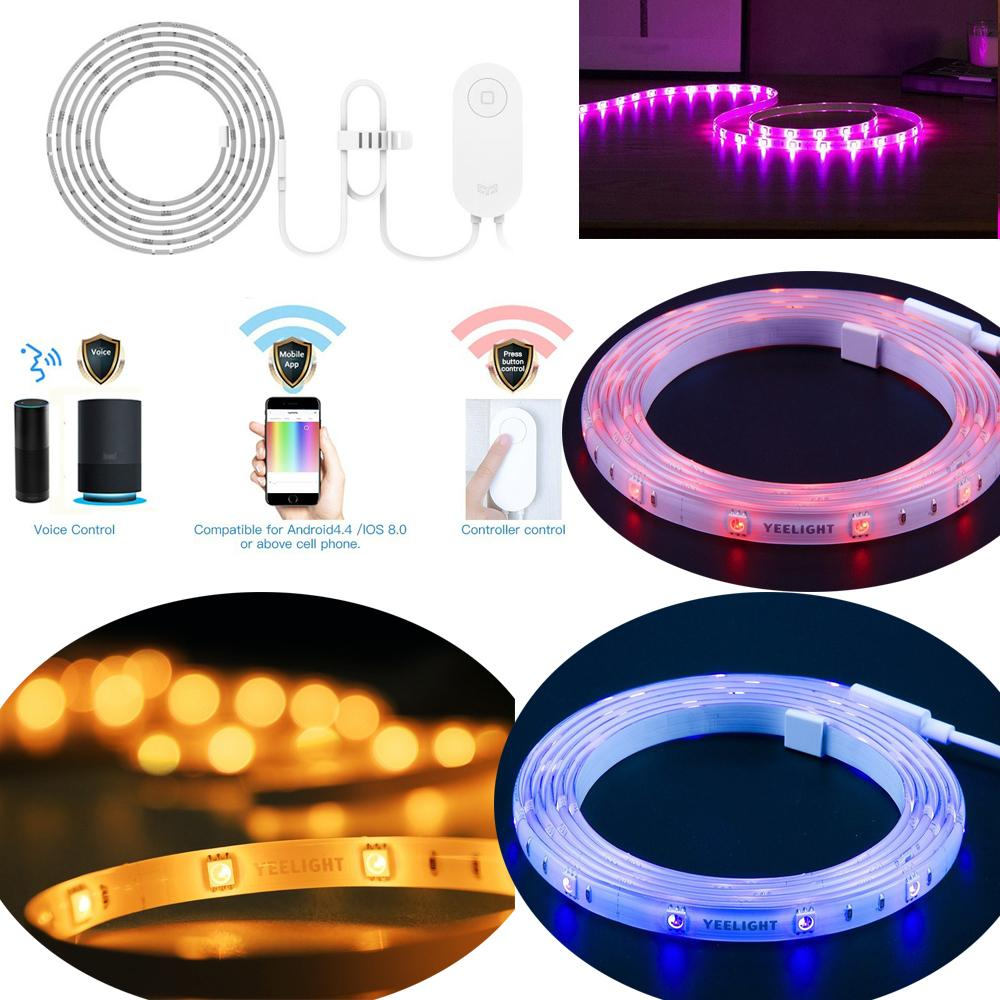 Smart WiFi RGB LED Strip Light Dimmable Strips Tape 1M 16 Million Colors Changing for Home Party Living Room Dining Club Bar Pub Decoration