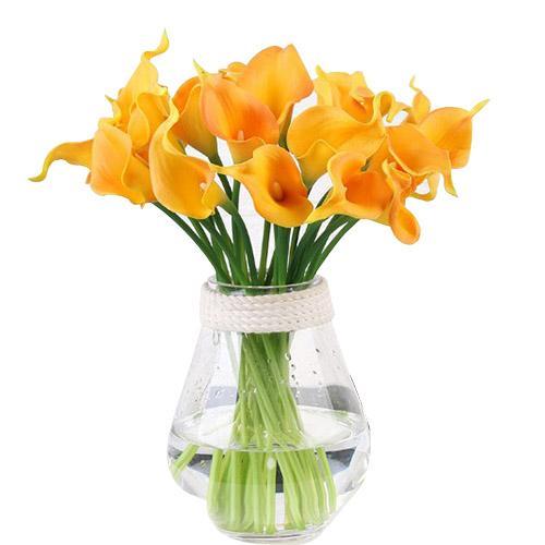 Simülasyon Calla Lily Yapay Çiçek PU Gerçek Ev Dekorasyon Çiçekler Düğün Buket Dekoratif Çiçekler