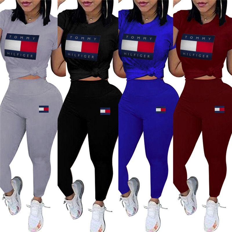 Women brand designer 2 piece set tracksuit sweatsuit crew neck short sleeve print letter t-shirt bodycon leggings pants summer clothing 623