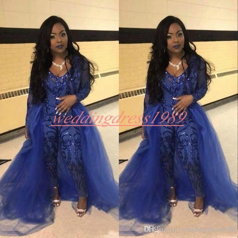 Tuta Trendy Abiti da ballo Pantaloni Overskirt Manica lunga Royal Blue Paillettes Abiti da sera per feste Robe De Soiree Celebrità Occasioni speciali