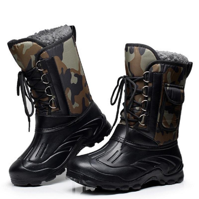 Chasse d'hiver en plein air Pêche thermique étanche Chaussures Hommes Escalade Sport Ultraléger épais molletonnée antidérapante neige BootsPT