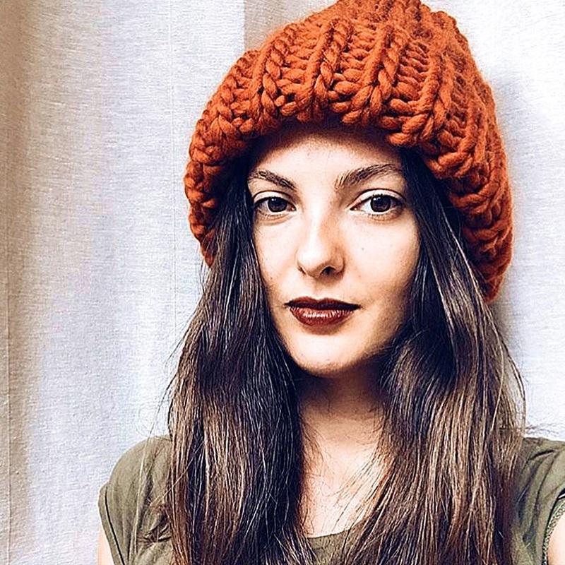 Cap Gorros Grande malha Sólidos Hat Female Bonnet Mulheres Winter malha Gorros Chapéu Grosso macio morno Grosso