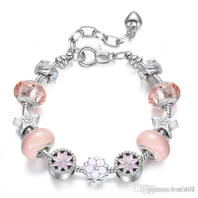 925 Peach Blossom fascino borda i braccialetti stella per le donne d'argento europea BRACCIALE Femme nuziale nuziale dei monili di trasporto