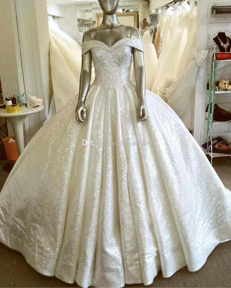 2019 New Sparkling Sequins Lace Beach Wedding Dresses Beach Off Shoulder A-line Wedding Dress Maternity Pregnant Boho Bridal Gowns