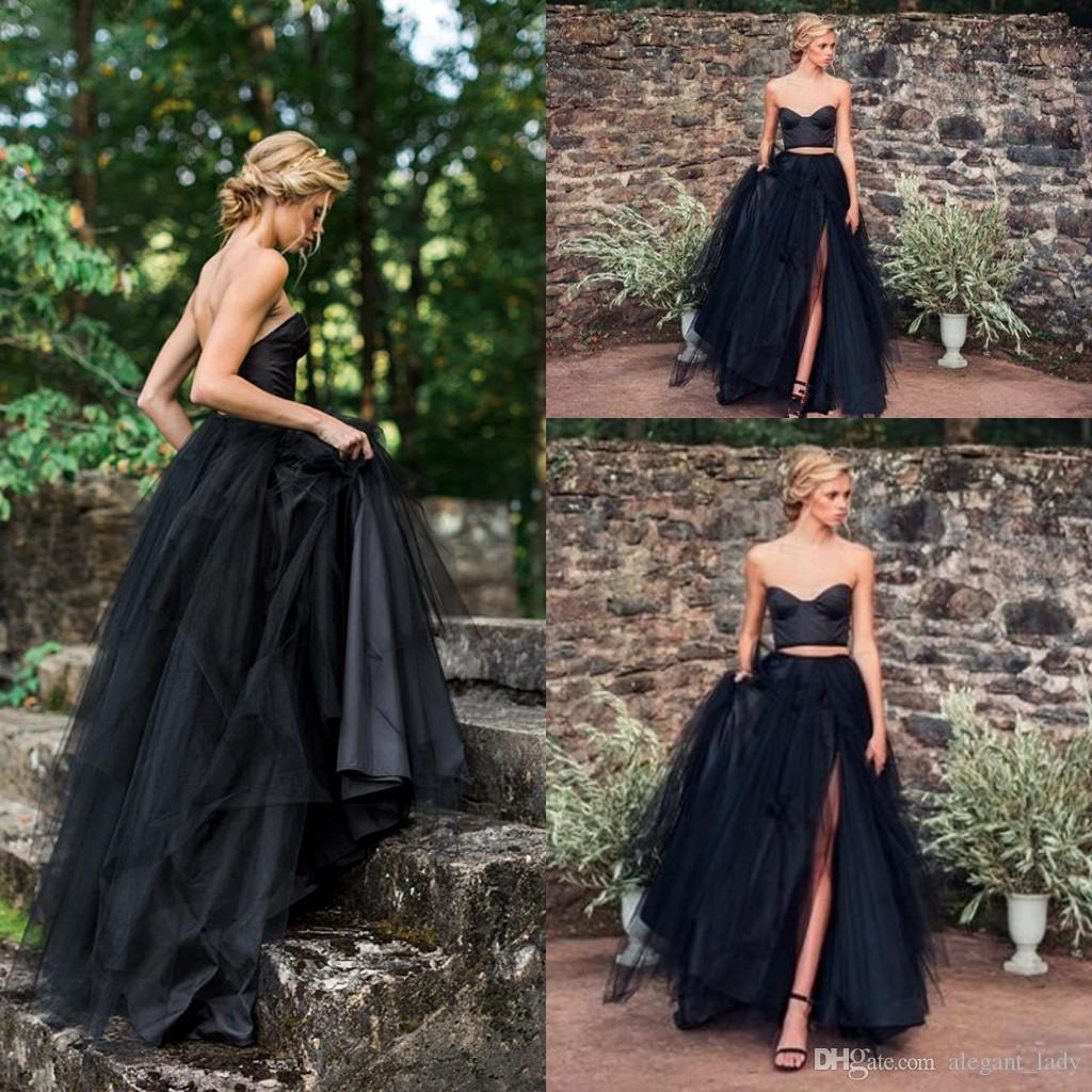 2018 2 adet Siyah Gotik Gelinlik ile Renk Renkli Olmayan Beyaz Sevgiliye Boho Vintage Gayri Gelin Modelleri Renkli Custom Made